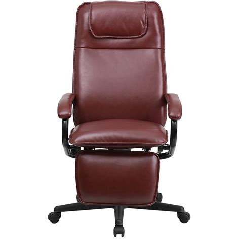recliner office chair ergonomic home high back burgundy leather executive