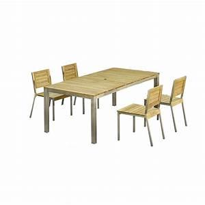salon de jardin robinox bois naturel 1 table 200x100 2 With salon de jardin bois leroy merlin 1 salon de jardin portofino bois naturel 1 table 2