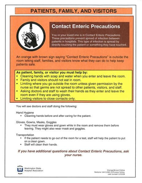 patient  family education contact enteric precautions