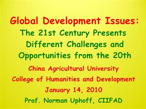 century 21 si鑒e social 1012 global development issues the 21st century presents different c