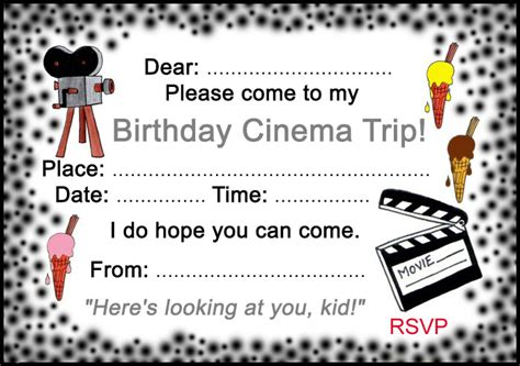 birthday cinema trip invitation rooftop post printables