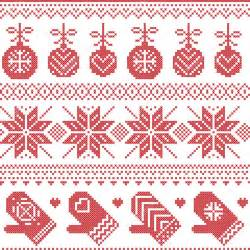 scandinavian nordic seamless pattern with baubles gloves snowflakes
