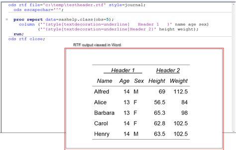 customize header borders  sas rtf output sas support