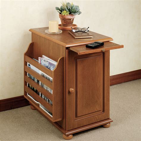 side table with l and magazine rack narrow wood end table with pull out tray and door also
