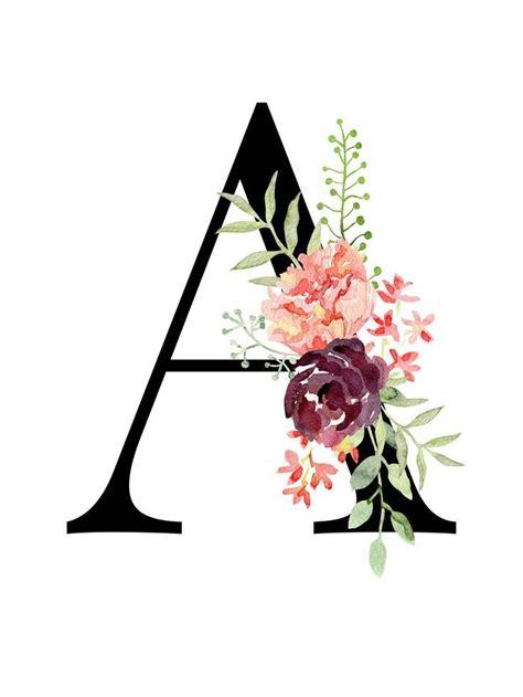 letter  floral monogram printable letter nursery art