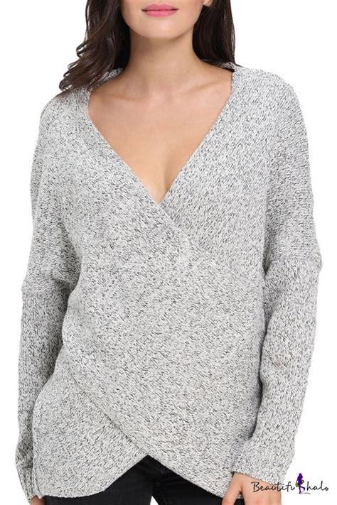 criss cross sweater criss cross wrap front v neck sleeve knit sweater