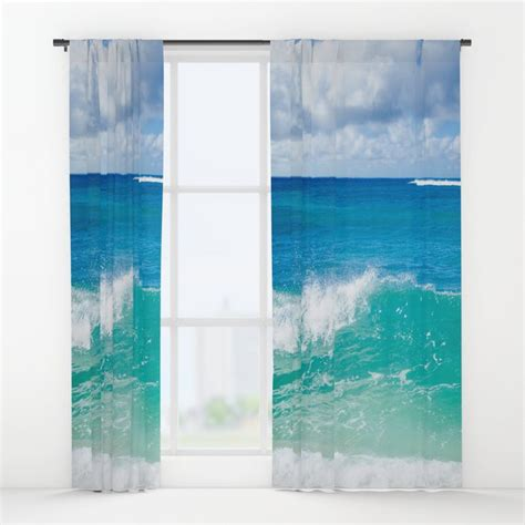 ocean wave window curtain blackout curtain sheer curtain