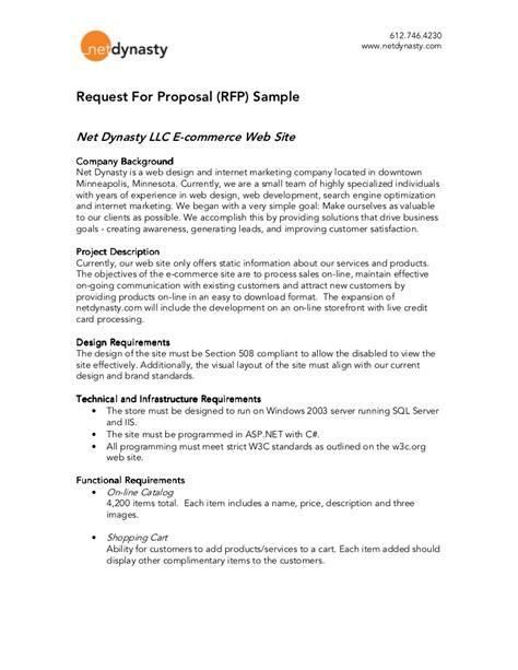 rfp response template net dynasty rfp sle