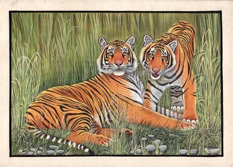 Bengal Tigers Painting Handmade Indian Miniature Wildlife
