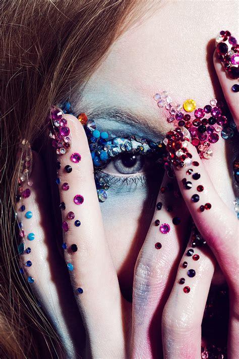 swarovski crystal sparkly rhinestone makeup nails manicure editorial  maria kalinina