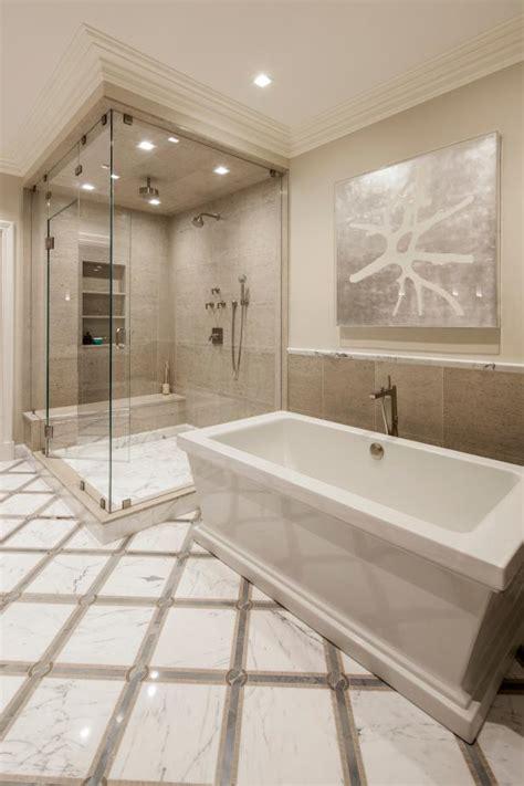 spa worthy bathroom  soaker tub  walk  shower hgtv