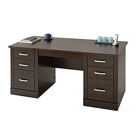 office depot desks sauder office port executive desk dark alder by office