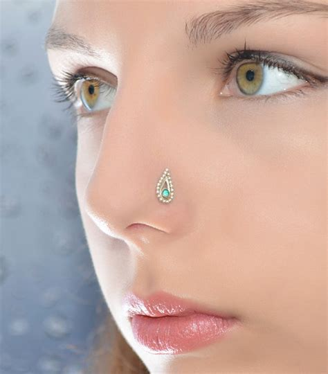 emerald nose stud gold cartilage stud cartilage earring