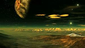 Sunrise On Venus. A Huge Sun Rises Between The Mountains ...