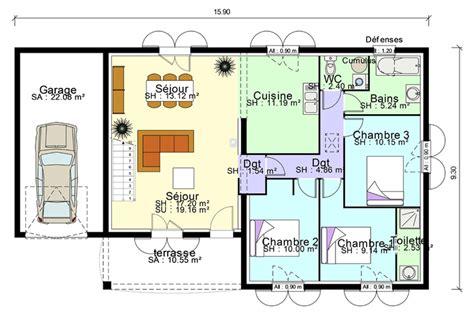 plans maisons plain pied 3 chambres plan de maison plain pied avec suite parentale mezzanine