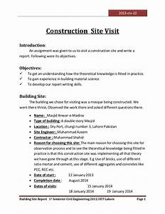 visit to a construction site With construction site visit report template