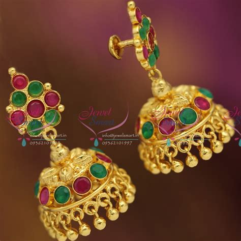 gold plated ruby emerald screwback south indian