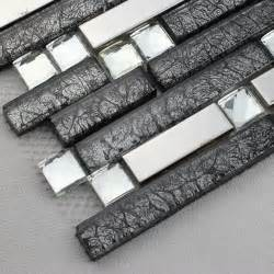 black glass interlocking mosaic tile silver 304 stainless