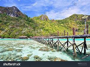 Long, Wooden, Pier, Bohey, Dulang, Island, Stock, Photo, 401657581