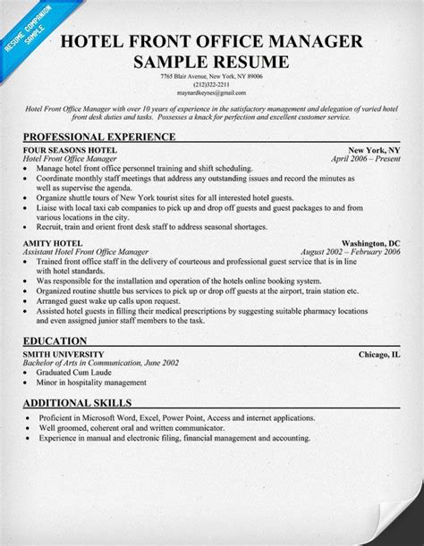 Hotel Industry Resume Format by Hotel Front Office Manager Resume Resumecompanion