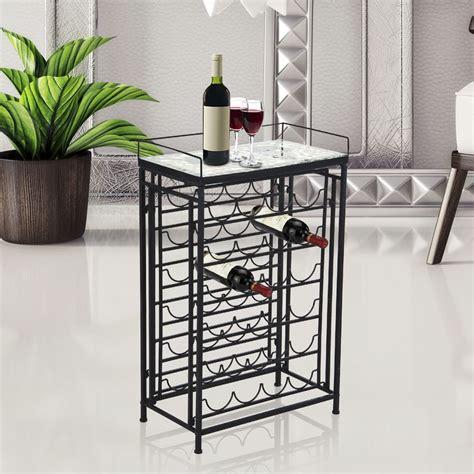 metal wine rack homcom 25 bottle wine rack metal holder glass d 233 cor table