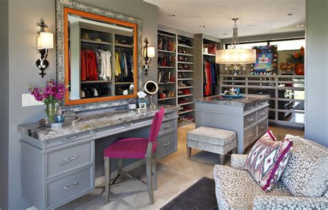 Closet Vanity Ideas by Walk In Closet With Mirrored Makeup Vanity Transitional