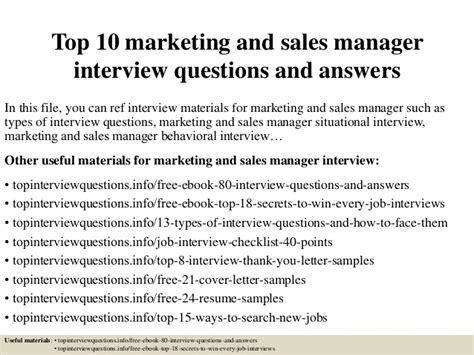 top  marketing  sales manager interview questions