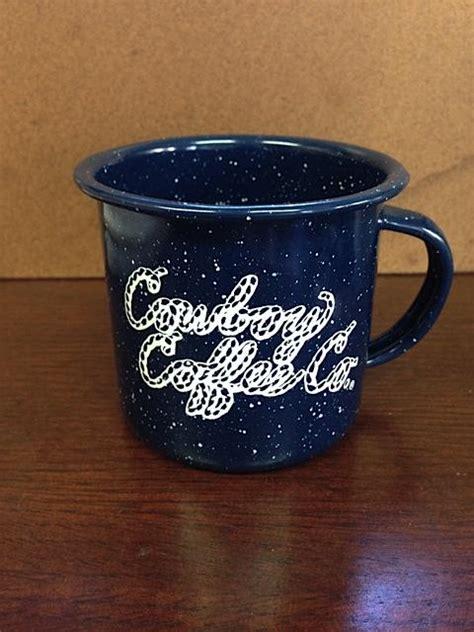Cowboy coffee pot and camping mug. Blue Cowboy Coffee Tin Mug