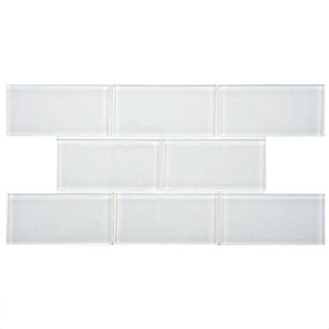 home depot white subway tile backsplash merola tile tessera subway white 3 in x 6 in glass