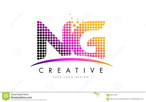 Ng N G Letter Logo Design With Magenta Dots And Swoosh