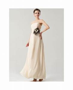 simple elegant long chiffon bridesmaid dress strapless With simple long wedding dresses