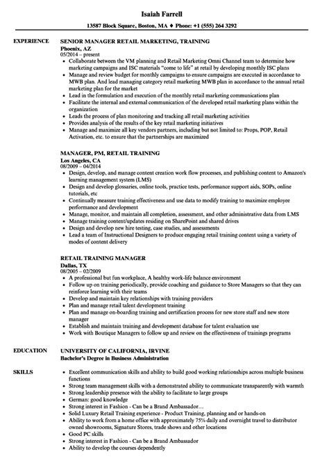 retail manager resume sles velvet