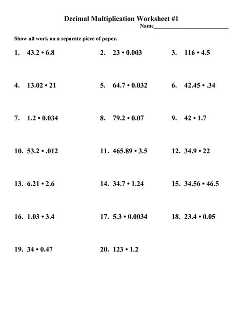 8 Best Images Of Multiplying Decimals Worksheet  Multiplying Two Decimals Worksheet, Math