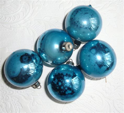 vintage christmas glass ornaments five 5 turquoise glass