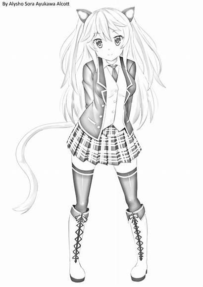 Neko Pencil Drawing Sketch Anime Drawn Kazenokaze