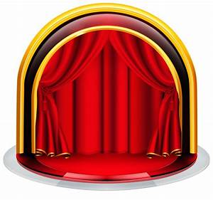 Stage with red curtains png clipart image graphics for Blue theatre curtains png