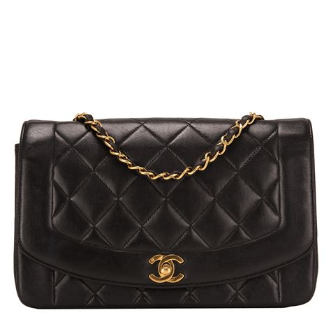 chanel vintage black quilted lambskin diana single flap bag worlds