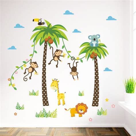 stickers chambre bébé arbre amazon com elecmotive forest monkey owls
