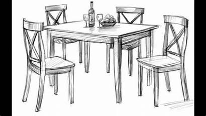Table Dining Drawing Kitchen Drawings Sketch Picnic