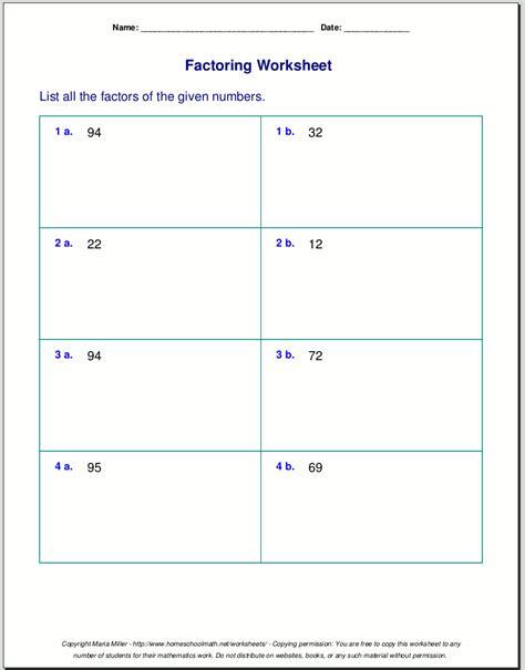 free worksheets for prime factorization find factors of