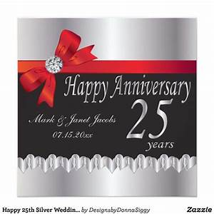 happy 25th silver wedding anniversary card zazzle With happy 25th wedding anniversary