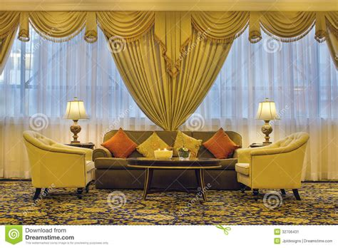 living room  ornate curtains  furniture stock image
