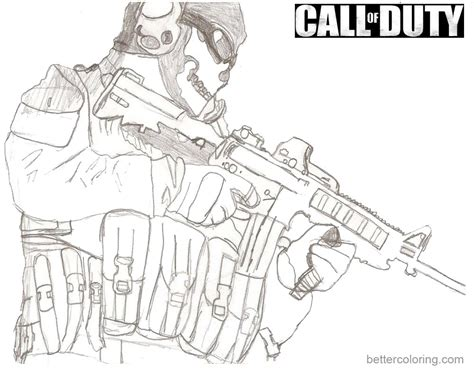 call color call of duty coloring pages sketch free printable