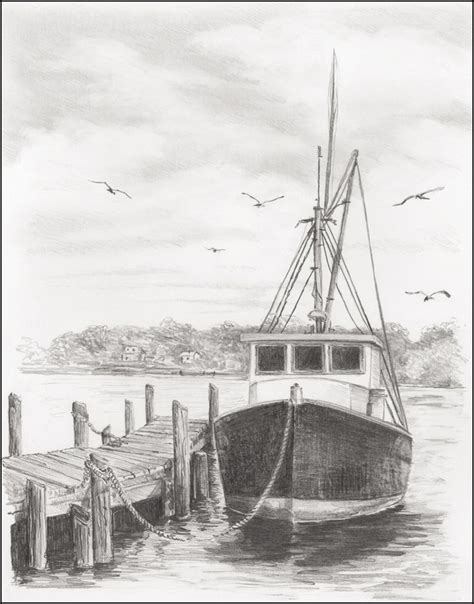 Drawing A Fishing Boat Step By Step by Simple Fishing Boat Drawing Www Imgkid The Image
