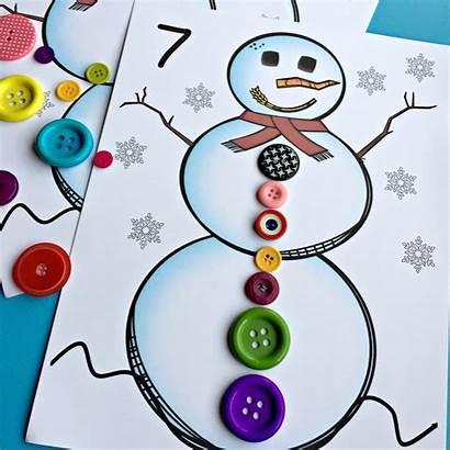 Snowman Match Count Activity Button Math Kindergarten