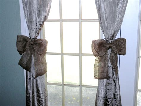 tiebacks for curtains burlap bow curtain tie back set of twowreath decor