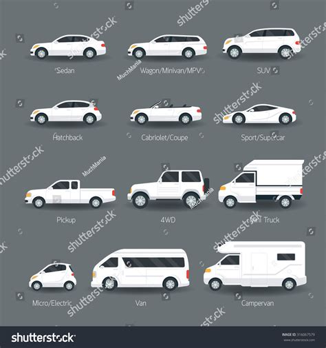 Car Type Model Objects Icons Set Stock Vector 316067579