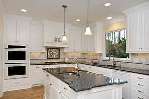 blue pearl granite countertop white kitchen cabinets With what kind of paint to use on kitchen cabinets for black and white with a splash of color wall art