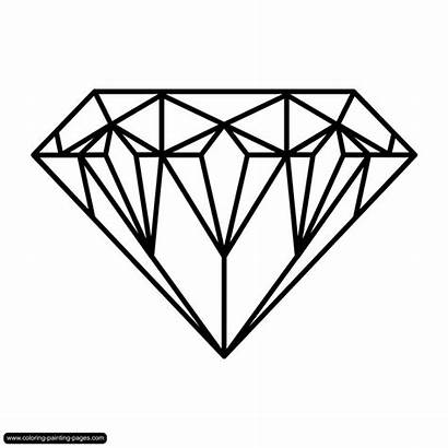 Diamond Coloring Pages Drawing Diamonds Line Painting