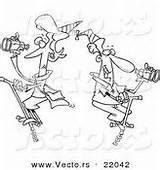 Coloring Pogo Binoculars Cartoon Patrolling Outlined Sticks Couple Vector Royalty Designs sketch template